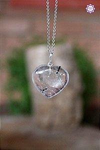 Pingente Coração de Quartzo Turmalinado (Prata 950) | Para Purificação Física, Emocional e Espiritual