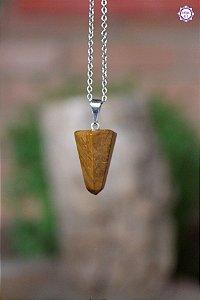 Pingente Pontinha Jaspe Amarelo (Pino Prateado) | Pedra da Vontade e Poder Pessoal