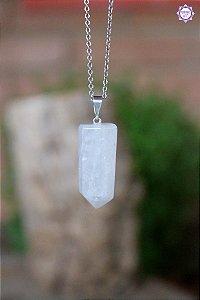 Pingente Pontinha Quartzo Branco Leitoso (Pino Prateado) | Cristal para Repelir Energias Negativas