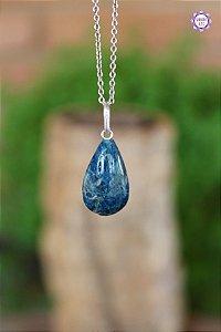 Pingente Gota Apatita Azul (Prata 950) | Pedra para Projeção Astral e Sonho Lúcido