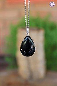 Pingente Gota Obsidiana Negra (Envolto em Prata 950) | Pedra para Proteção Psíquica e Energética