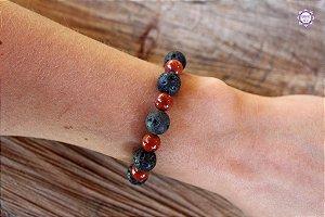Pulseira de Pedra Vulcânica e Jaspe Vermelho 16cm para Renascimento e Força