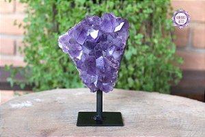 Drusa de Ametista com Suporte 734g | Cristal de Proteção e Transmutação de Energias