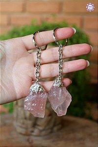 Chaveiro de Quartzo Rosa Bruto | Pedra do Amor e Cura Emocional