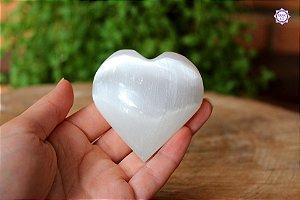 Coração de Selenita 6cm 105g | Pedra de Ativação Espiritual e Limpeza