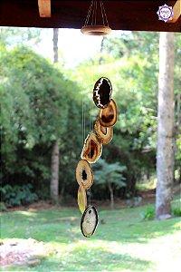 Móbile Mensageiro dos Ventos de Ágata 65cm | Equilíbrio Emocional e das Energias Yin e Yang