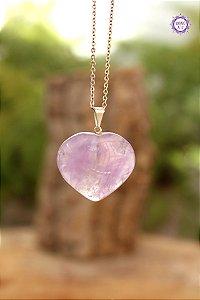 Pingente Coração Ametista (Pino Prateado) | Cristal de Proteção, Transmutação e Comunicação Divina