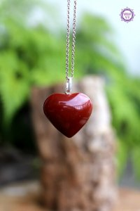 Pingente Coração Jaspe Vermelho (Prata 950) | Pedra da Memória e Energia Kundalini