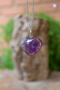 Pingente Coração Ametista (Prata 950) | Cristal de Proteção, Transmutação e Comunicação Divina