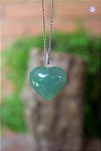 Pingente Coração de Quartzo Verde (Prata 950) | Cristal de Cura e Manifestação