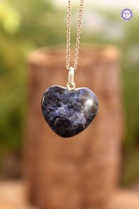 Pingente Coração Sodalita (Prata 950) | Pedra do Insight e Intuição