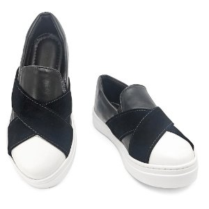 Slip On Preto e Branco Confort  MegaChic