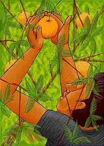 """Colhendo laranjas"", pintura digital"