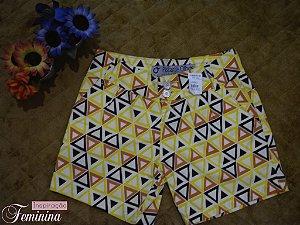 Short Amarelo Estampado Cintura Alta