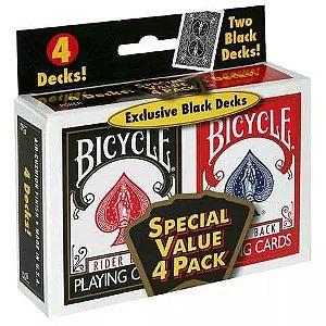 Baralho Bicycle Combo 2 pares Preto/Vermelho (4 baralhos)