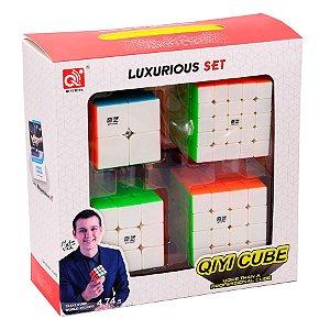 Box Cubo Mágico Qiyi 2x2x2 + 3x3x3 + 4x4x4 + 5x5x5 Stickerless