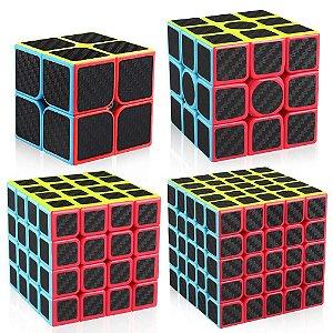 Box Cubo Mágico Moyu 2x2x2 + 3x3x3 + 4x4x4 + 5x5x5 Carbono