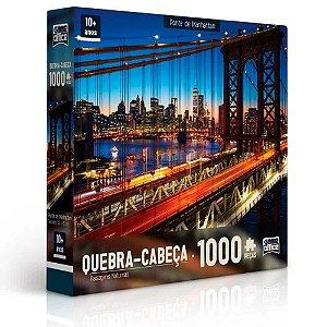 Quebra-Cabeça Paisagens Noturnas - Ponte de Manhattan 1000 peças