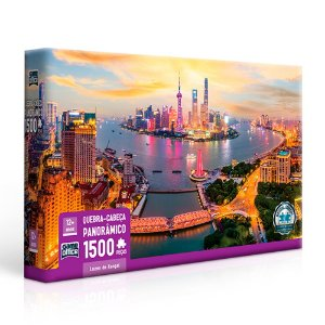 Quebra-Cabeça Panorâmico Luzes de Xangai 1500 peças