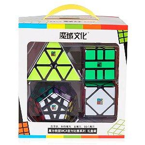 Box Cubo Mágico Moyu Megaminx + Pyraminx + Square-1 + Skewb Preto