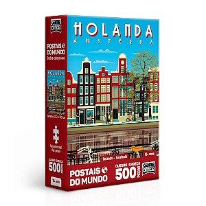 Quebra-Cabeça Postais do Mundo - Holanda - Amsterdã 500 Peças Nano