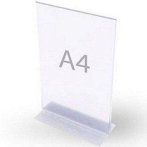 Display T  A4  Acrilico mesa  Transparente  A 30cm x L 21cm
