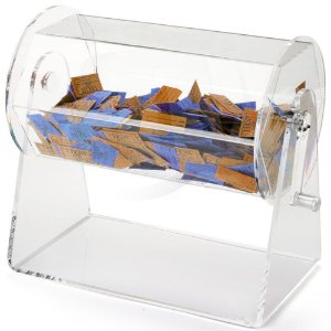 Urna de acrilico giratoria  A 32cm L 50cm x P 23 Ø  c/ cadeado
