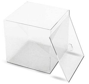 Caixa em Acrílico Cristal 3 mm – Tampa com rebaixo 20 cm x 20 cm x 20 cm (largura x profundidade x altura)