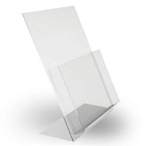 porta folheto de mesa c/ bolsa em  acrilico A4