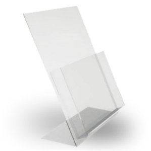 Porta folheto A4  acrilico de mesa c/ bolsa A 30cm x L 21cm