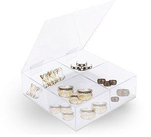 Caixa Organizadora  Acrílico Cristal –  4 Repartições  A 10cm x L 20cm x P 20cm