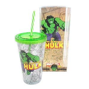 Copo Canudo Hulk com tampa e canudo
