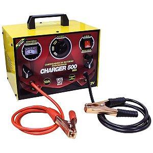 CARREGADOR DE BATERIAS CHARGER 500 BOX - 50A - AUX PARTIDA - 60HZ - 127V/220V BIVOLT MONOFASICO - V8 BRASIL