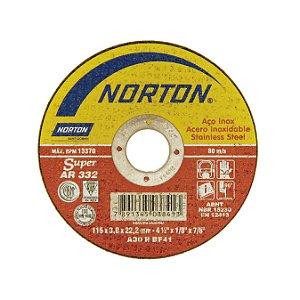 Disco de Corte Ar332 Super Inox, 115 X 3,0 X 22,2mm - Norton