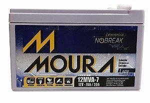 Bateria Estacionária Moura 12v 7ah Nobreak Circuito Tvs Bicicletas Elétrica