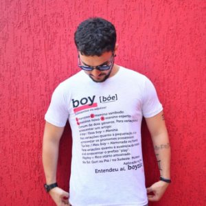 Camiseta Boy Dicionário Branca