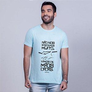 Camiseta Estonada Mãos Dadas Azul Amandrafts