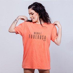Camiseta Estonada Mainha é Fuderosa Laranja