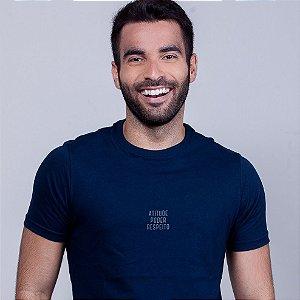 Camiseta Atitude Poder e  Respeito Azul Marinho