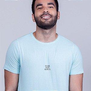 Camiseta Estonada Atitude e Poder Respeito Azul Madeiro