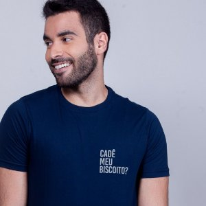 Camiseta Cadê meu biscoito? Azul Marinho