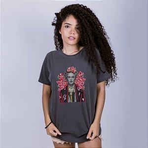 Camiseta Estonada Frida Kahlo  Chumbo