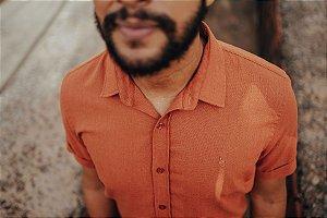 Camisa Linho de Botão Ferrugem