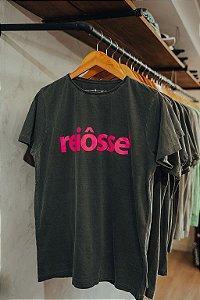 Camiseta Estonada Reiosse Chumbo Estampa Pink