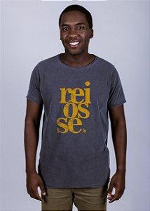 Camiseta Estonada A Fio Reiôsse Grunge Chumbo