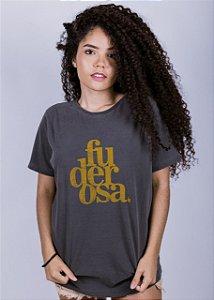 Camiseta Estonada Fuderosa Grunge da Sem Etiqueta na cor Chumbo