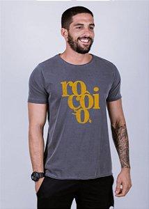 Camiseta Estonada A Fio Roçôio Grunge Chumbo