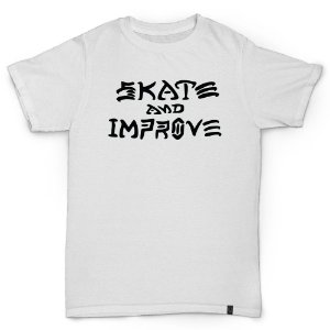 CAMISETA SKATE AND IMPROVE - BRANCO