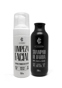 Kit Limpeza Pele e Barba: Espuma Limpeza Facial 150ml + Shampoo para Barba 200ml CIA. DA BARBA
