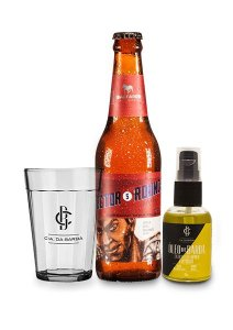 Kit de Presente Masculino: Óleo de Barba Lúpulo de Cerveja Bastards 30ml + Cerveja IPA Bastards + Copo de Cerveja CIA. DA BARBA